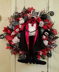Dracula Wreath, Halloween Wreath,Vampire Wreath, Deco Mesh Wreath, Fall wreath…