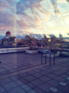 Der Sonnenuntergang auf der Dachterrasse der LVZ Kuppelhalle.