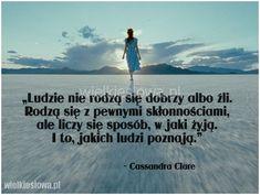 Ludzie nie rodzą się dobrzy albo źli... #ClareCassandra,  #Człowiek, #Drogaiwędrówka, #Życie, #Zło Cassandra Clare, Beach, Quotes, Movies, Movie Posters, Outdoor, Woman, Top, Quotations