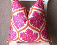 Pink Pillow.Orange Pillow.Duralee Ambry Fabric.Decorative Pillow Cover.Accent Pillow.Throw Pillow.Home Decor.Handmade Pillow.Girl Pillow