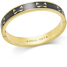 kate spade new york Gold-Tone Black Enamel Cool Cat Hinged Bangle... (250 BRL) ❤ liked on Polyvore featuring jewelry, bracelets, multi, enamel bangle, goldtone jewelry, hinged bracelet, bangle jewelry and enamel bangle bracelet