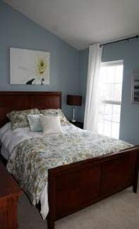 Behr Flint Smoke - don't like for bedroom. Before and After: Master Bedroom Bedroom Paint Colors, Blue Paint Colors, Bedroom Colour Schemes Neutral, Neutral Bedrooms, Gray Paint, Wall Colors, House Paint Interior, Interior Design, Interior Colors