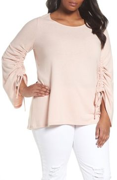 18ed09209d7 Buy online top rated Vince Camuto Drawstring Sleeve Top (Plus Size)