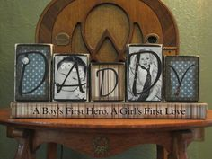 Daddy Photo Blocks - Customized Daddy Sign Word Blocks  with Pictures. via Etsy.