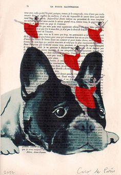 Dessin Illustration Giclee Prints affiches mixte Art Acrylic peinture décor de vacances cadeaux : Danser sur un chien