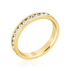 18k Gold Plated Stacker Ring with Round Cut Clear Crystal in a Channel Setting Polished into a Lustrous Goldtone Finish
