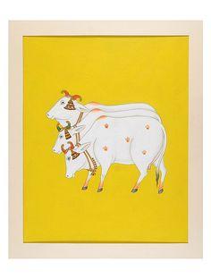 Buy Yellow White Orange Green Gold Black Kaamdhenus Artwork on Board Paper 26.5 in x 22.6 Poster Color Art Decorative The Sacred Cow Contemporary Work Depicting Kaamdhenu Online at Jaypore.com