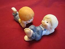 Country Cousins Figurines Katie & Scooter by Enesco 1980, Denim Overalls