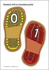 Numbers 0-50 on shoe/boot prints (SB3403) - SparkleBox