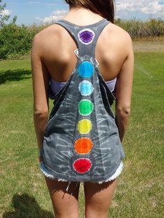 Tie Dye Razorback Tank Top M, XL 7 CHAKRAS Gray 100% Cotton Hand Dyed Summer #Lagaci #Tank #Cami #Casual #7Chakras #Chakra #Tie Dye #JoiNT #Jaw Dropping #Nifty