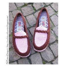 Turn home-Slippers into Street Shoes! Ravelry: PACKAGE for Chocolate & Pink Loafers/Moccasins + CORD-Soles / Sole Treatment pattern by Ingunn Santini