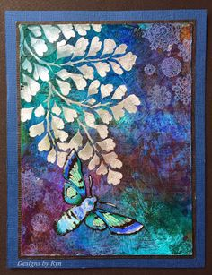 Designs by Ryn: a card using the Lucine and Maindenhair fern stamps; Jan 2015