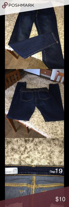 Gap Legging Jeans Size 29 Long Gap legging jeans.  Dark blue rinse color.  Size 29 long.  Inseam is 32 inches long.   Excellent condition.  Important:   All items are freshly laundered as applicable prior to shipping (new items and shoes excluded).  Not all my items are from pet/smoke free homes.  Price is reduced to reflect this!   Thank you for looking! GAP Jeans Skinny