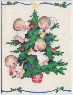 Vintage Greeting Card Christmas Angels Decorating Tree Rust Craft e292