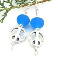 Pewter Peace Sign Aqua Blue Lampwork Handmade Earrings Beaded Jewelry | ShadowDogDesigns - Jewelry on ArtFire