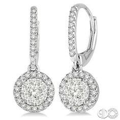 3/8 Ctw Round Cut Diamond Lovebright Earrings in 14K White Gold