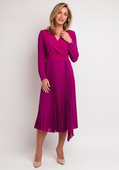 Magenta, Wrap Dress, Dresses With Sleeves, Long Sleeve, Wedding, Fashion, Valentines Day Weddings, Moda, Full Sleeves