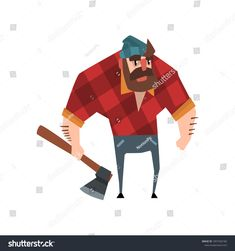 5b7b9aaf Strong bearded woodcutter character with axe in his hand. Cheerful  lumberjack man wearing red checkered shirt, blue jeans and hat. Forest  worker.