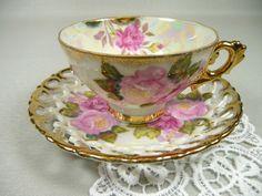 Vintage Pink Roses Lusterware Tea Cup & Saucer Royal by meaicp