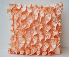 Ruffle Throw Pillow Cover Decorative Satin by AmoreBeaute on Etsy