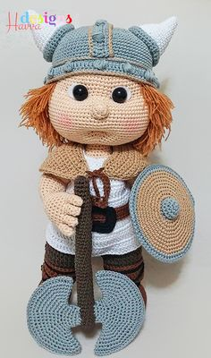Amigurumi Pattern Havva Designs Tommy with viking costume