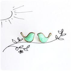 Hey, I found this really awesome Etsy listing at https://www.etsy.com/listing/110539955/mint-birds-earrings-post-studs-earrings