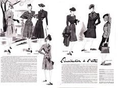 Modes et Travaux - June 1, 1941. 1940s fashion sketch.