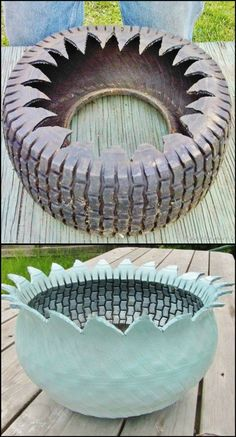 34 Creative DIY Planters You Will Simply Adore Creative DIY Planters - Rotted Tree Trunk Succulent Planters - Best Do It Yourself Planters YardGarden Keep Old Tires From Ending up in The Dumpsite by Turning Them Into Awesome Planters Tire Garden, Garden Yard Ideas, Garden Crafts, Garden Projects, Outdoor Planters, Garden Planters, Recycled Planters, Succulent Planters, Old Tire Planters