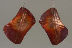 Freeform Rounded Foldformed Copper Rectangle Earrings 2598 by Richard Stromberg