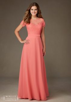 f7b5027bcc2 Mori Lee Bridesmaids 124 Lace and Chiffon Illusion Neckline Bridesmaid Dress  Designed by Madeline Gardner.