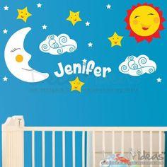 Stars Clouds Moon Sun with Custom Name Wall Decal Stickers - Nursery Design…
