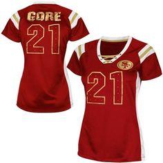 b8c849fe3 Frank Gore San Francisco 49ers Womens Draft Him Shimmer V-Neck T-Shirt -