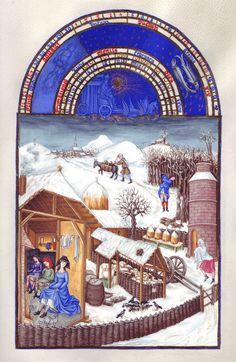 Très Riches Heures du duc de Berry, Frères Limbourg Mois de février Musée Condé, Chantilly