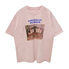 American Summer T-shirt (1.069.180 VND) ❤ liked on Polyvore featuring tops, t-shirts, american tees, pink t shirt, summer tops, summer tees and american t shirt