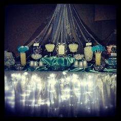Beautifully dressed candy table