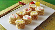 sushi wafels met fruit en slagroom