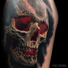 – Indispensable address of art – skull tattoo sleeve Hand Tattoos, Evil Tattoos, Badass Tattoos, Skull Tattoos, Body Art Tattoos, New Tattoos, Tattoos For Guys, Sleeve Tattoos, Skull Tattoo Design