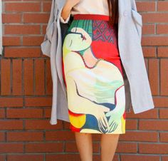 FineArt+Collection.  The+print+is+inspired+by+Picasso's+painting,+La+reve. This+skirt+is+for+cold+season,+the+fabric+is+a+bit+thick,+air-layer+fabric,+one+layer,+no+lining+(if+add+lining+inside+it's+not+comfortable).+You+can+have+an+idea+about+the+fabric+in+photo4. The+print+is+in+both+side,+...