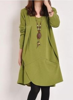 Loose Long Sleeve Women' Shift Dress (plus Size Available) Shift Dresses from fashionmia.com
