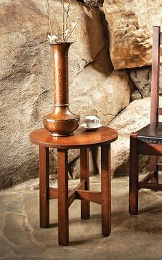 'Grove Park Inn Arts & Crafts Furniture' A book by Bruce E. Johnson | Stickley Taboret | Roycroft Hammered Copper 'American Beauty' Vase