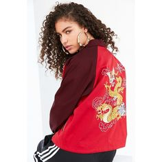 Silence + Noise Olympia Souvenir Coach Jacket ($109) ❤ liked on Polyvore featuring outerwear, jackets, embroidered jacket, baseball style jacket, long sleeve jacket, snap jacket and lightweight jackets
