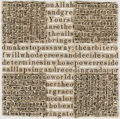 MEG HITCHCOCK ~ Paper Artisan Brooklyn-based artist Meg Hitchock dissects religious texts such as the Bible, Koran, and Torah and uses the individual letters to create maddeningly complex, interwoven collages of typography. Religious Text, Religious Books, Art Textile, Paper Drawing, Paper Artist, Sacred Art, Altered Books, Collage Art, Word Collage