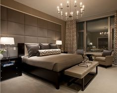 modern master bedroom suite : lighting : window treatments : bench : headboard : masculine