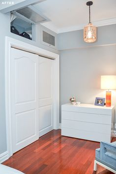 love the storage above the closet in the bedroom