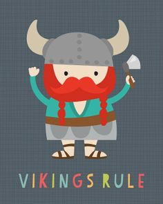 Vikings Rule Illustration - Giclee Art print by Lamai McCartan by lamaianne, Etsy $25.00
