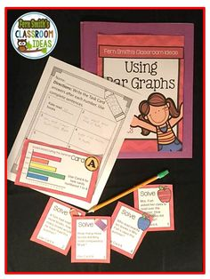 Using Bar Graphs Task Cards, Recording Sheets and Answer Keys ~ With a Cute Kid Ready For School Theme #TPT $
