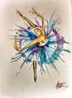 Ballerina in watercolor