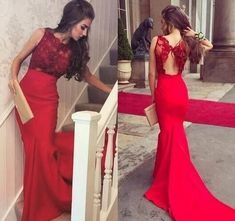 Red Lace Mermaid Prom Dresses Long 2018 by Miss Zhu Bridal on Zibbet Mermaid Prom Dresses Lace, Lace Mermaid, Evening Party Gowns, Evening Dresses, Formal Dresses, Custom Dresses, Dress Making, Red Lace, Marie