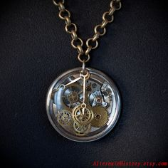 Steampunk Watch parts Resin Necklace by Alternate History Designs, via Flickr