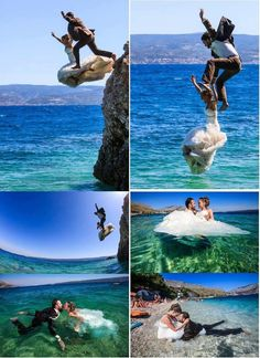 This is my dream trash the dress. Guess I have to learn how to swim and not be afraid of heights until i find a husband